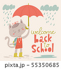 Welcome back to school poster with cartoon animals. Baby cat with an umbrella. 55350685