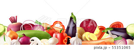 Realistic Vegetables Border Composition 55351065