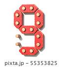 Wooden toy red digital number 9 NINE 3D 55353825
