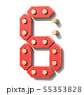 Wooden toy red digital number 6 SIX 3D 55353828