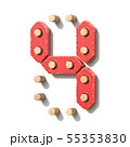 Wooden toy red digital number 4 FOUR 3D 55353830