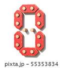 Wooden toy red digital number 0 ZERO 3D 55353834