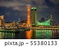神戸メリケンパークの夜景ライトアップ 55380133