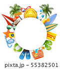 Vector Round Blank Frame with Beach Accessories 55382501
