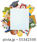 Vector Exercise Book Sheet with School Accessories 55382506