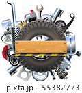 Vector Board with Truck Wheel and Spares 55382773