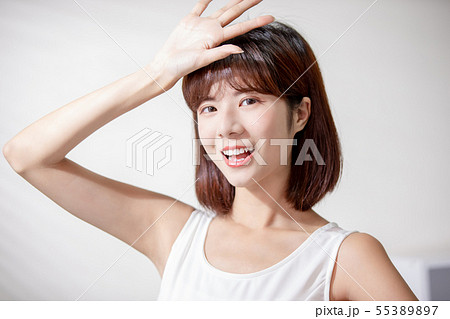 Young asian woman enjoy sunshine 55389897