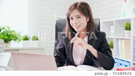 Young asia woman work in office 55389920