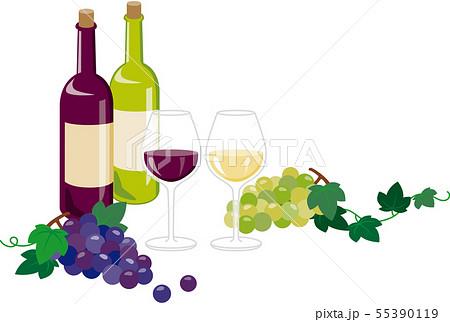 赤ワインと白ワイン 55390119