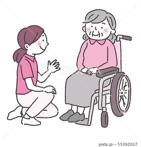 認知症 高齢者 車椅子 ヘルパー 介護士 イラスト 2色 55392037