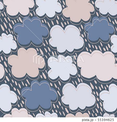 Hand drawn clouds seamless pattern. Rain backdrop. 55394625
