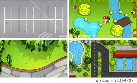 Set of top view aerial scenes in nature and 55394707