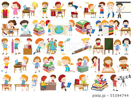 Boys, girls, children in educational fun activty 55394744