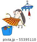 洗濯物をパタパタするハリネズミさんのイラスト 55395110