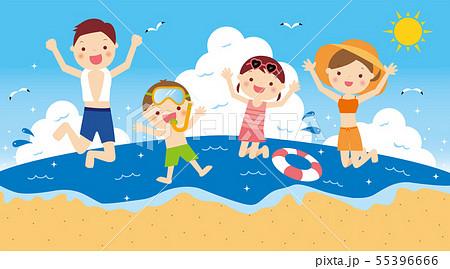 海で遊ぶ 4人家族 55396666