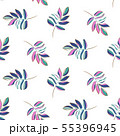 Hand drawn outline leaves purple pop colors seamless vector pattern. 55396945