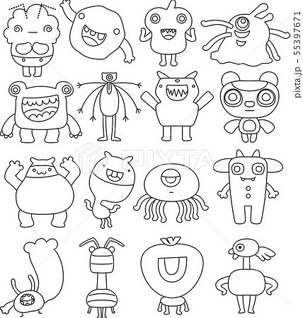 怪物 モンスター かわいい 奇妙な キャラクター イラスト モノクロのイラスト素材
