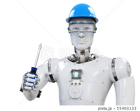 engineer robot wearing safety helmet 55403133