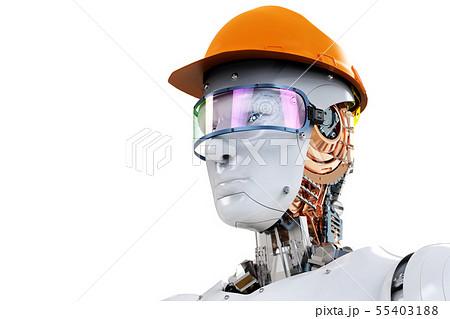 engineer robot wearing safety helmet 55403188