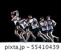 Young handball player against dark studio background in strobe light 55410439