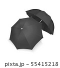 Vector 3d Realistic Render Black Blank Umbrella Icon Set Closeup Isolated on White Background 55415218