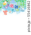 青空の下で干す洗濯物の背景、水彩イラスト 55416862