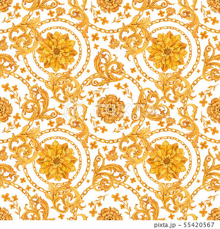 Golden baroque rich luxury pattern 55420567
