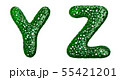Realistic 3D letters set Y, Z made of green plastic. 55421201