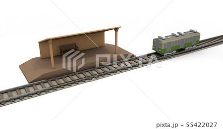 鉄道 田舎の駅と線路 55422027