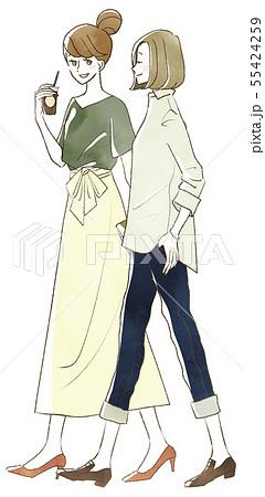 笑顔で歩く2人の女性のイラスト素材 55424259 Pixta