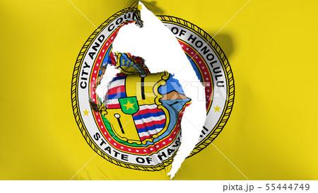 Damaged Honolulu capital city flag 55444749