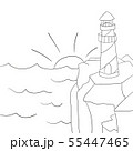 Coloring page for kids. Cartoon lighthouse. Vector 55447465