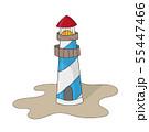 Lighthouse on ocean or sea beach cartoon background vector illustration 55447466
