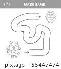 Help piggy find path. Labyrinth. Maze game for kids. Vector illustration 55447474