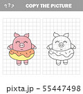 Funny pig. Copy the picture children drawing game 55447498