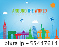 Travel composition with famous world landmarks. Travel and Tourism concept. Vector 55447614