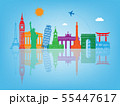 Travel composition with famous world landmarks. Travel and Tourism concept. Vector 55447617