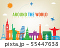 Travel composition with famous world landmarks. Travel and Tourism concept. Vector 55447638