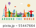 Travel composition with famous world landmarks. Travel and Tourism concept. Vector 55447664
