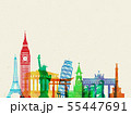 Travel composition with famous world landmarks. Travel and Tourism concept. Vector 55447691