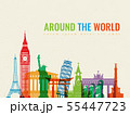 Travel composition with famous world landmarks. Travel and Tourism concept. Vector 55447723