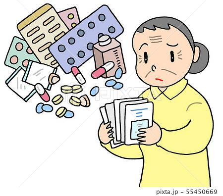 高齢者の多剤大量処方(お婆さん) 55450669