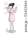 体重計に乗る女性イラスト 55452944