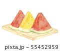 まな板の上のスイカ 西瓜 イエロー 赤 三切れ 水彩 55452959