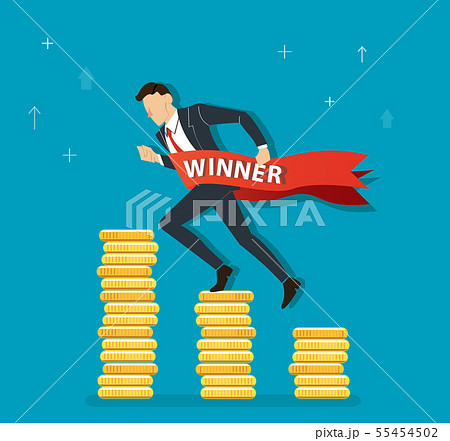 businessman celebrating on coin graph 55454502