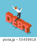 Isometric businessman jumping over the debt 55459918