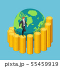 Isometric businessman climbing a spiral coin 55459919