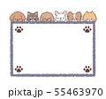 犬たちフレーム小型犬四角-足跡 55463970