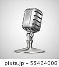 Realistic retro microphone. 3D vintage metal mic on holder, classic record equipment isolated on 55464006