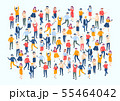 Isometric people crowd. Large people group, different male and female characters, business audience 55464042